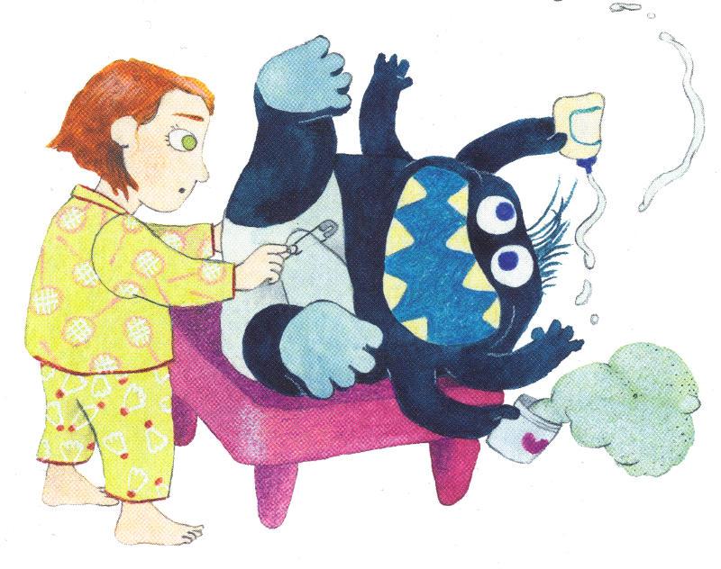 Amanda wechselt dem kleinen Monster die Windel